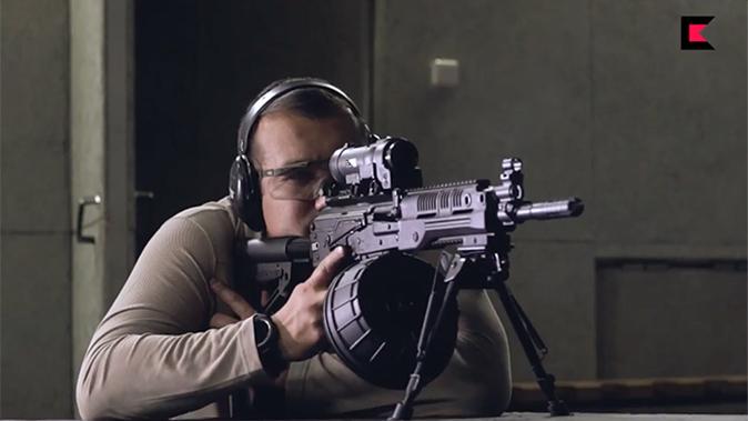 Kalashnikov RPK-16 machine gun firing