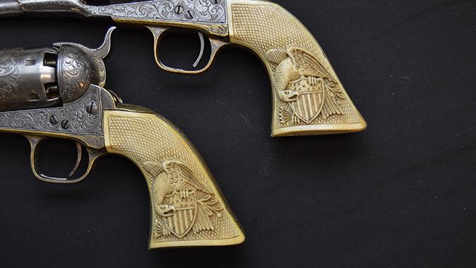 colonel custer colt model 1861 revolver grip closeup