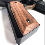 black wood usa english walnut grips smooth closeup