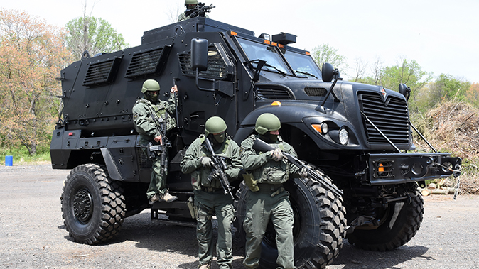 mrap vehicle police front angle