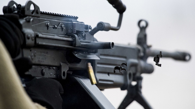 army Next Generation Squad Automatic Rifle m249 closeup