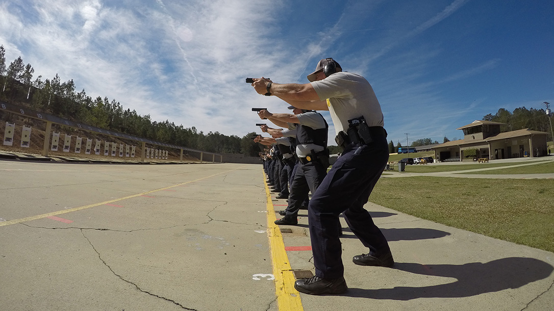 glock pistols shooting lineup
