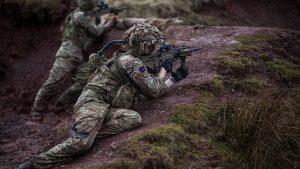 british army SA80A3 rifle shooting