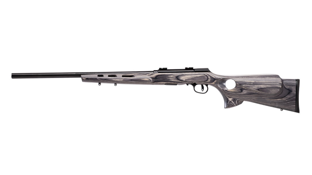 Savage A22 Target Thumbhole model rifle 110 wolverine left profile