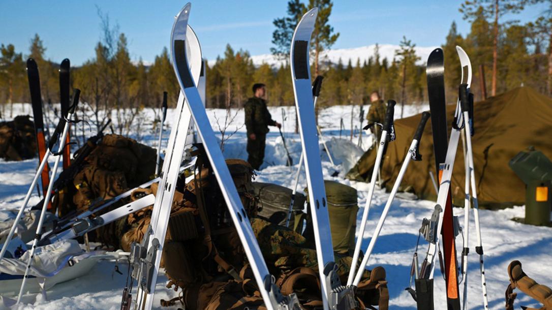 marine corps military ski system skis closeup