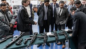 russia india ak-103 rifles table display