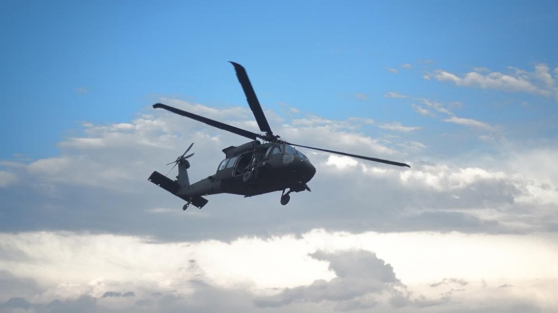 flying black hawk helicopter ammo box