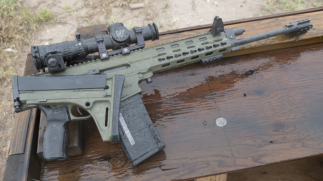 Robinson Arms XCR-M Rifle test folded stock right