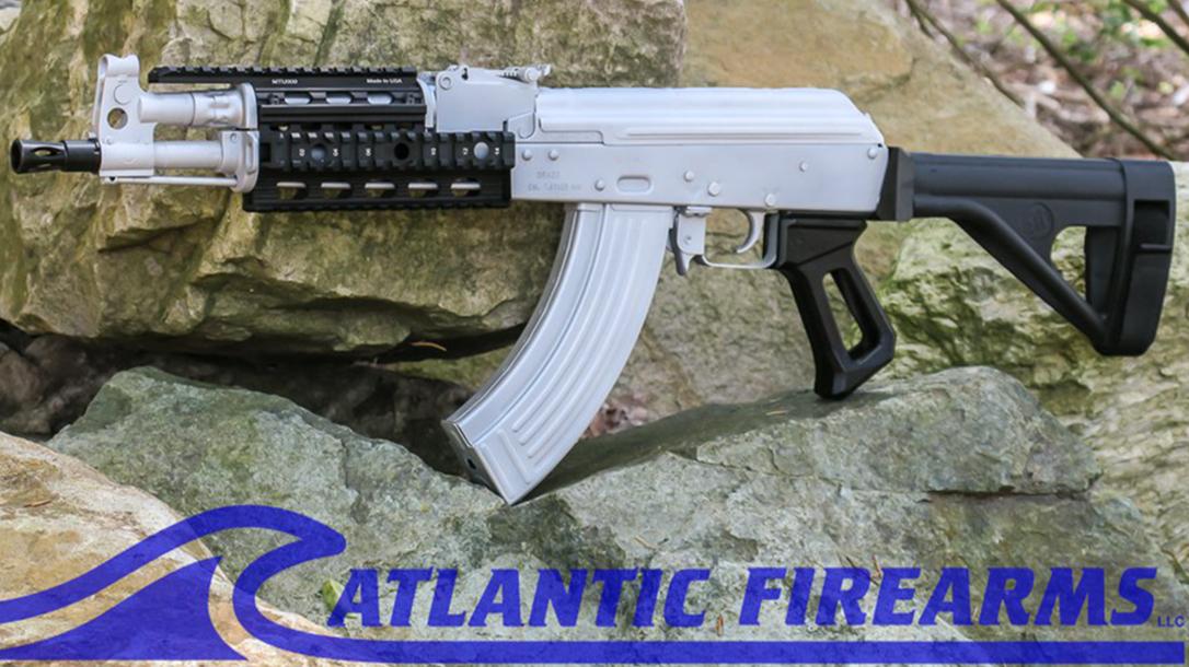 atlantic firearms draco ak pistol bright silver left profile