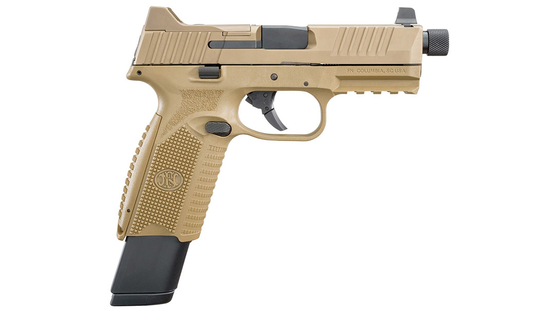 FN 509 Tactical pistol extended mag right profile