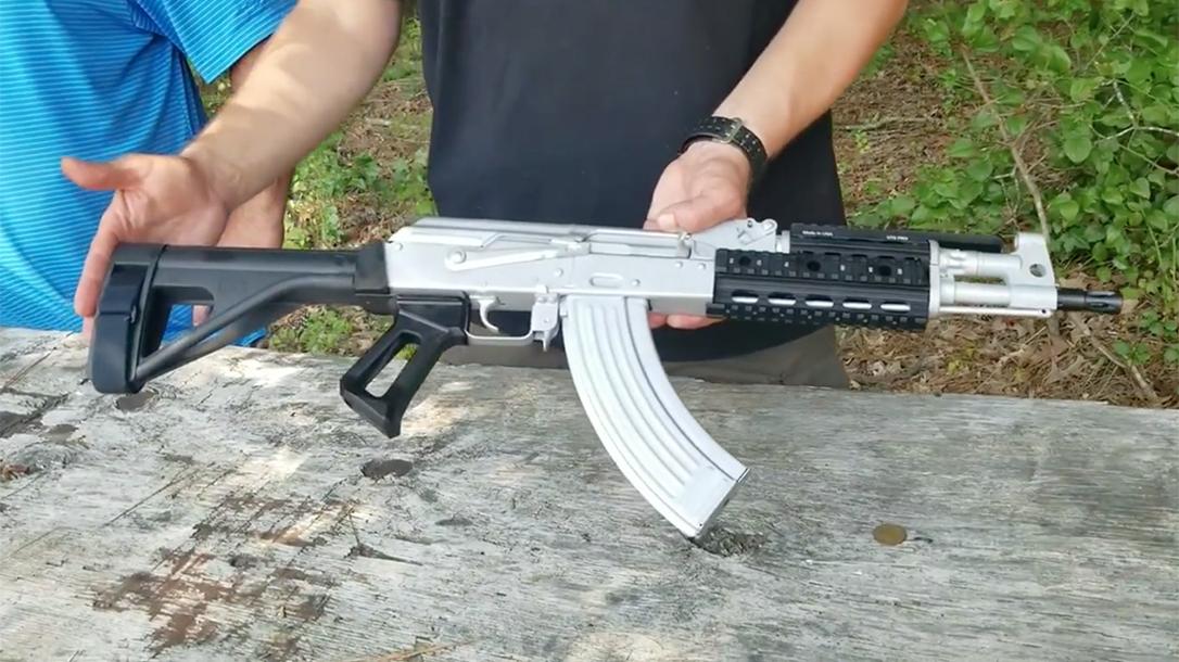 new bright silver atlantic firearms draco ak pistol