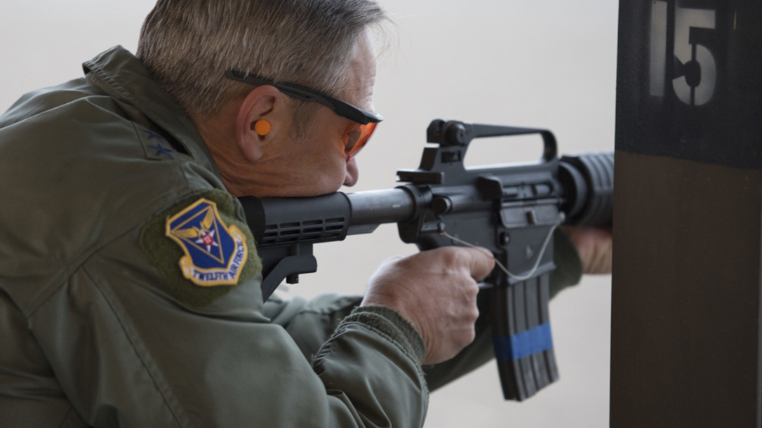 GAU-5A Aircrew Self Defense Weapon rifle firing