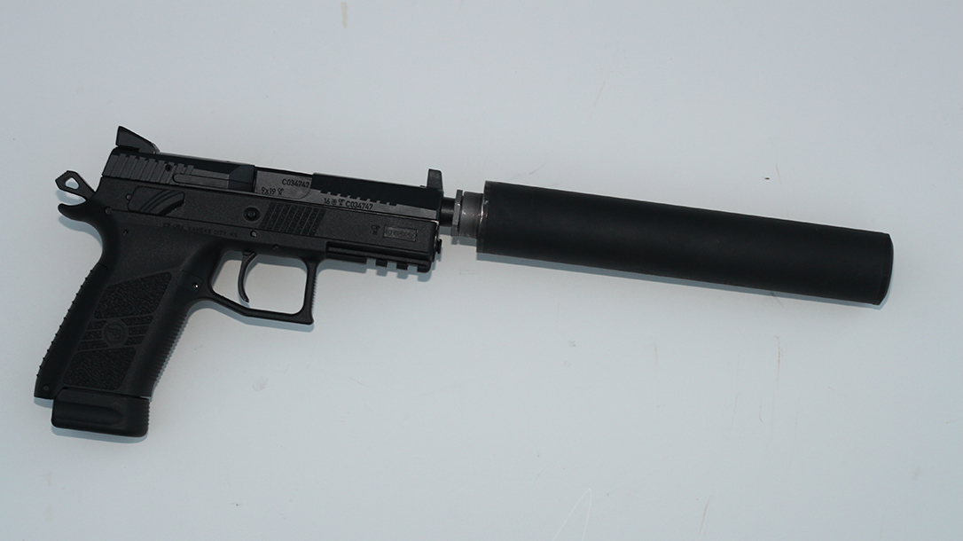 CZ P-07 Suppressor Ready pistol suppressor attached