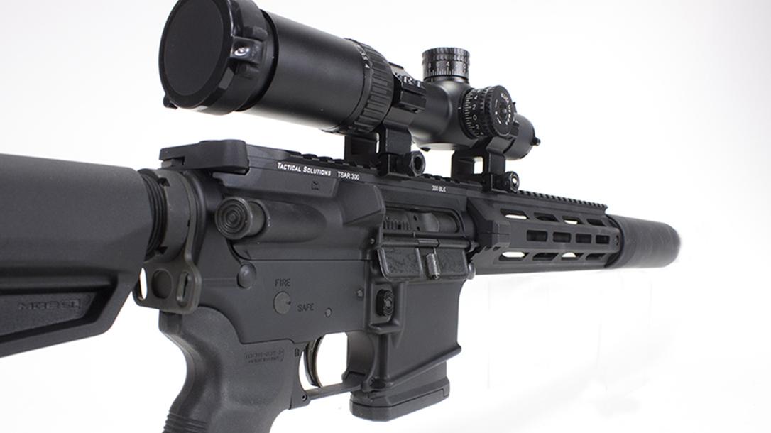 tactical solutions, tactical solutions TSAR-300 rifle, TSAR-300, TSAR-300 rifle, tactical solutions TSAR-300 rifle rear angle