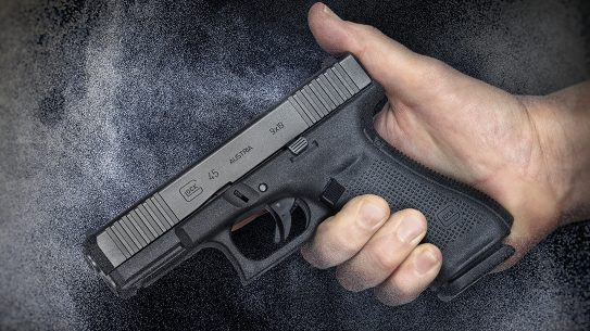 Glock 45 pistol, G45 pistol first review, hand