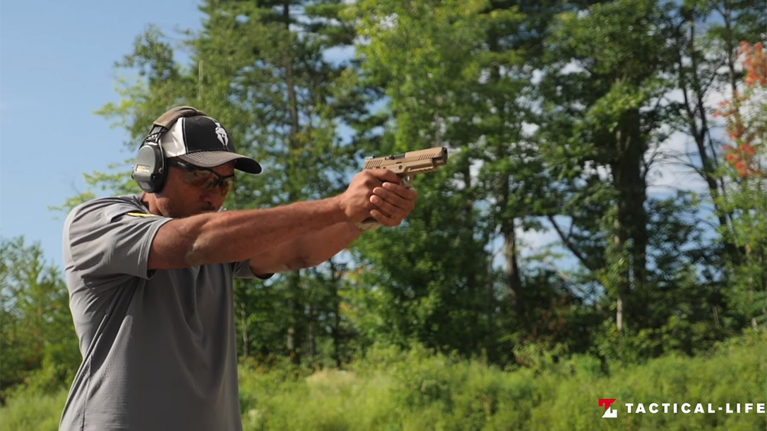 SIG P320 M17 pistol, air pistol variant, range test