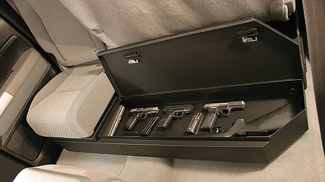 Tuffy Under Rear Seat Lockbox Secures Firearms In Pickup