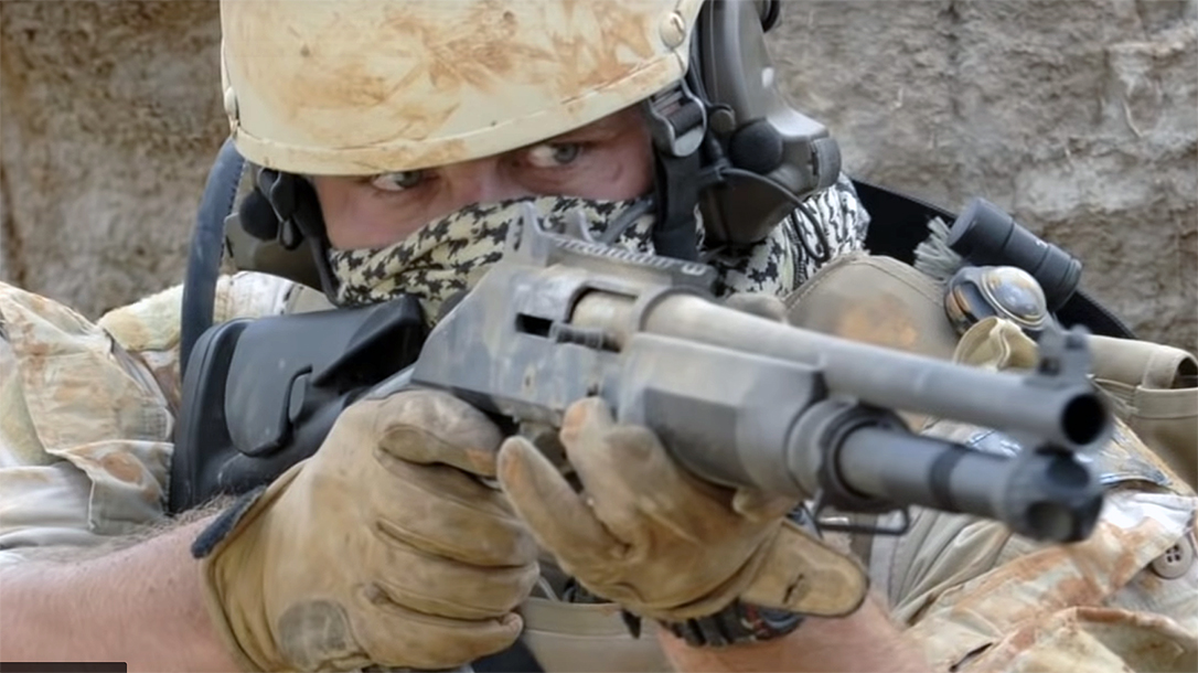 A British SAS operative took out the enemy with a Benelli M4.