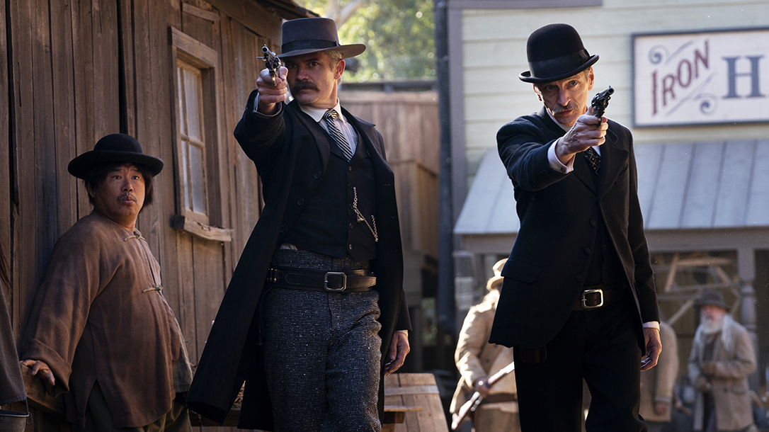 Seth Bullock and Seth Star pull revolvers during an episode.