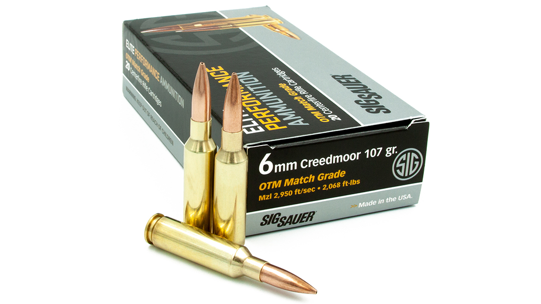 SIG's 107-grain 6mm Creedmoor Elite Match Ammunition serves long-range shooters.
