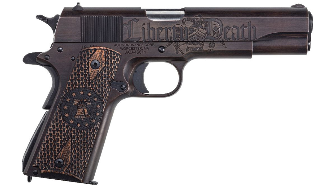"The right side of the pistol features the words ""liberty ... death."""