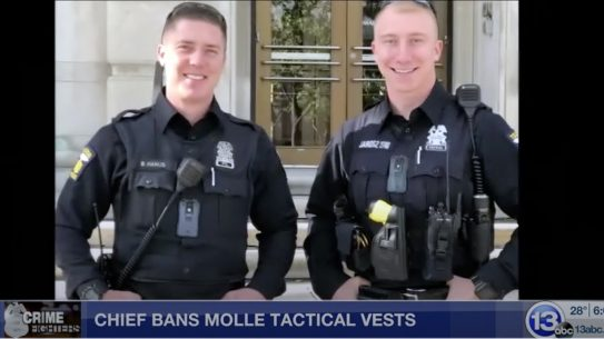 A chief bans tactical vests in Ohio over appearance.