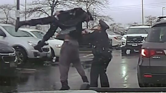 EKU linebacker Michael Harris body slammed a Grove City police officer in Ohio.