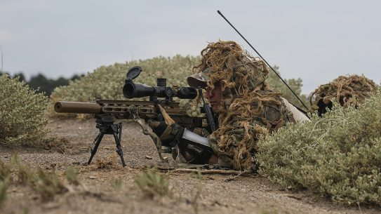 A U.S. Army Special Forces sniper, assigned to 10th Special Forces Group (Airborne), provides over watch security for an assault element during a training exercise on Fort Carson, Colo., Aug. 3, 2018. The training exercise was meant to test every ability of the Special Forces operators in conducting unconventional warfare operations. (U.S. Army photo illustration by Sgt. Connor Mendez/Portions of this photo were altered for Operational Security purposes)