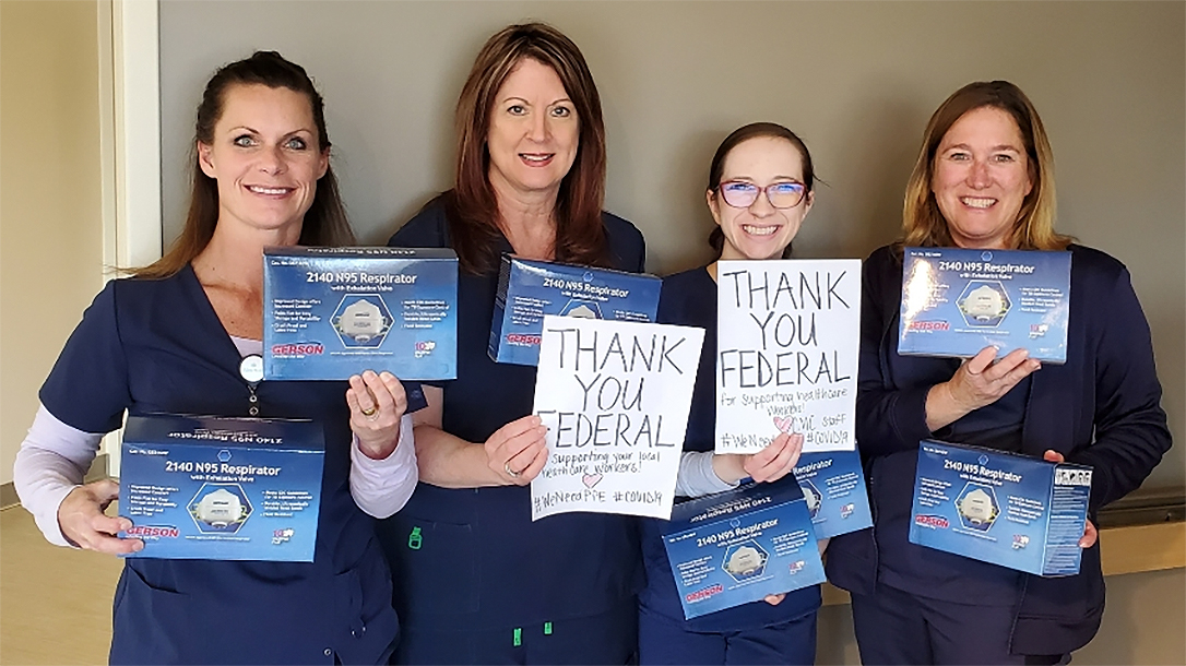 Federal Ammunition donated N-95 masks to local hospitals, as gun industry companies fight spread of COVID-19.