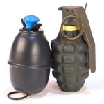 Hand grenades come in two broad flavors. The German egg grenade on the left is an offensive grenade offering a lot of explosive and minimal fragmentation. The American Mk 2 on the right is a defensive grenade optimized for fragmentation effect.