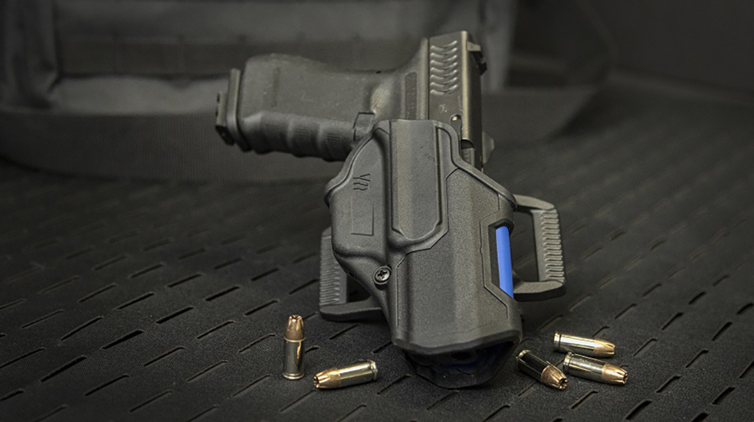 The limited edition Blackhawk T-Series holster features a thin blue line.