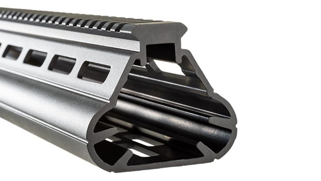 The Widebody Palm Handguard utilizes M-LOK attachments.