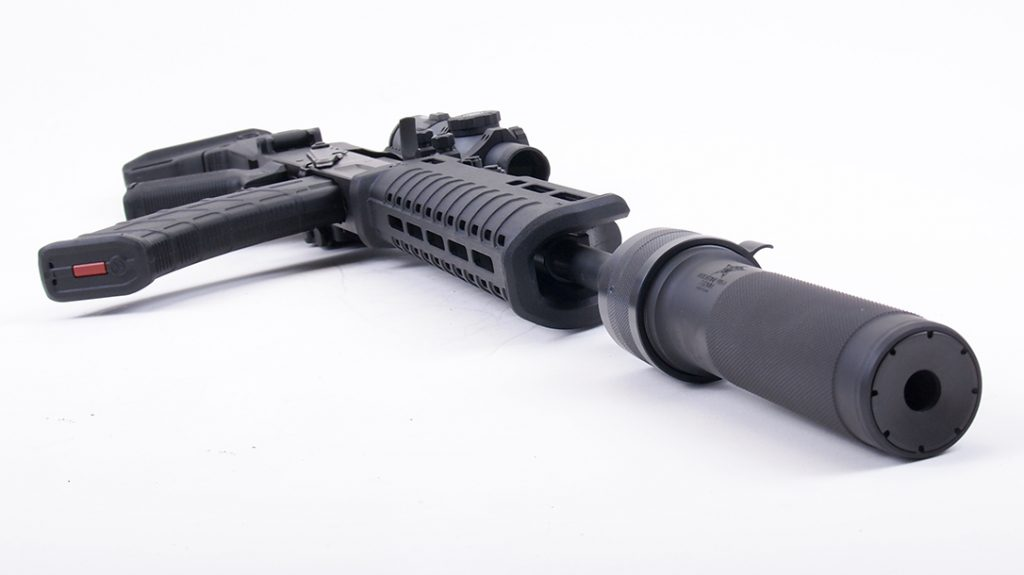 The Dead Air Wolverine helped tame the recoil during testing.