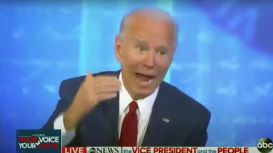 Joe Biden, in a town hall event, said police should shoot suspects in the legs.