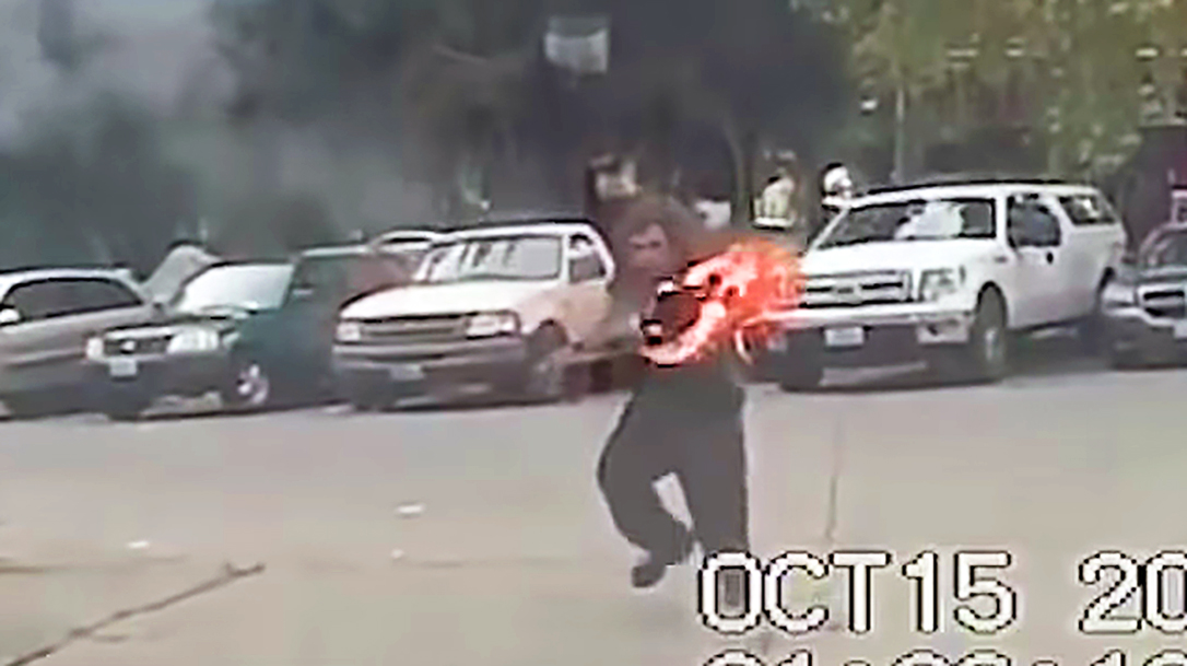 A suspect attacked a Seattle police officer with a giant torch.