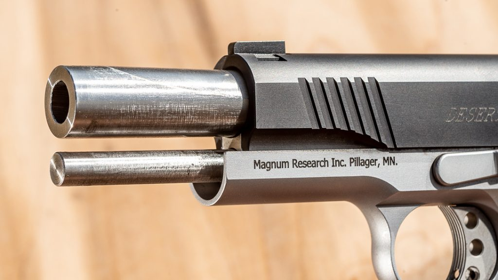 """Both the 4.33 and 3.0"""" guns use a bushingless design while the 5"""" gun has a traditional style bushing."""
