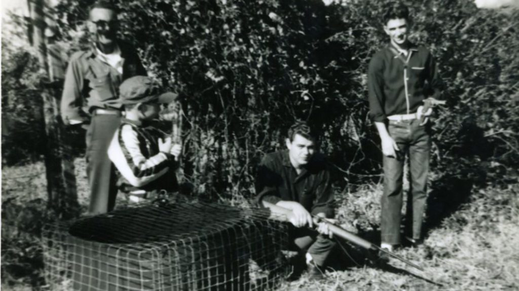 Family friend Dicky Thomson, younger brother Billy Jack and Carlos Hathcock shooting in 1958. Billy Jack is holding this rifle.
