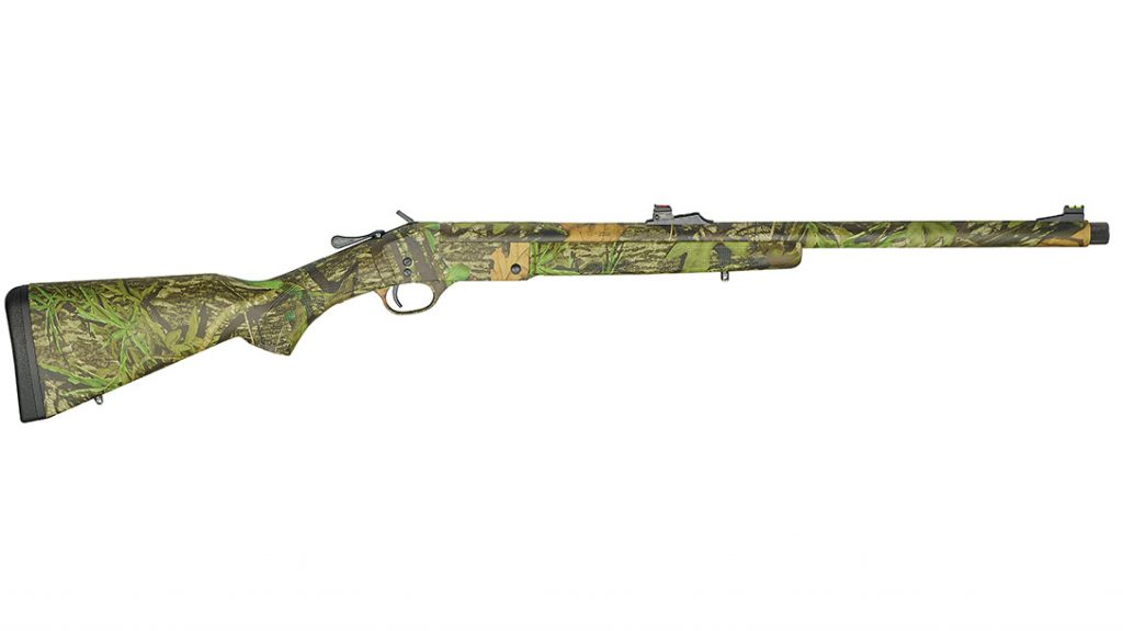 The Henry Single Shot Turkey Camo Shotgun is fully covered in Mossy Oak Obsession camouflage and features fiber optic sights and a removable turkey choke.