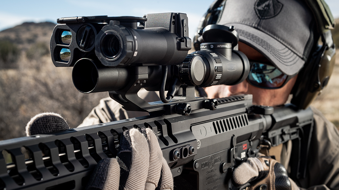 The Sector Optics G1T2 begins life as a traditional 1-8X riflescope.