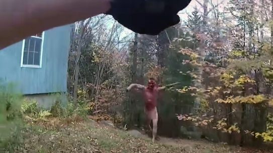 A disturbed Ethan Freeman, naked and covered in blood, charged an officer, leading to a fatal shooting.