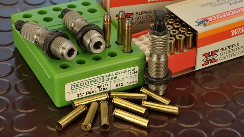While brass is available from Starline Brass and at gun shows, most die manufacturers make precision die sets for the .357 Maximum.