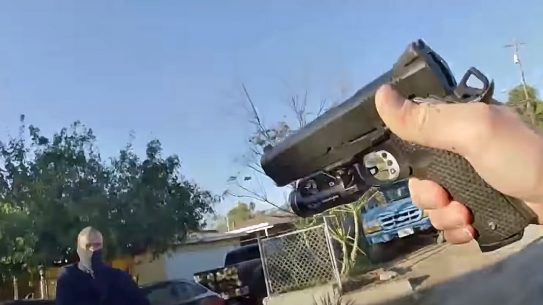 A Riverside METRO officer pulled what looks like a SW1911 to take down an armed suspect in California.