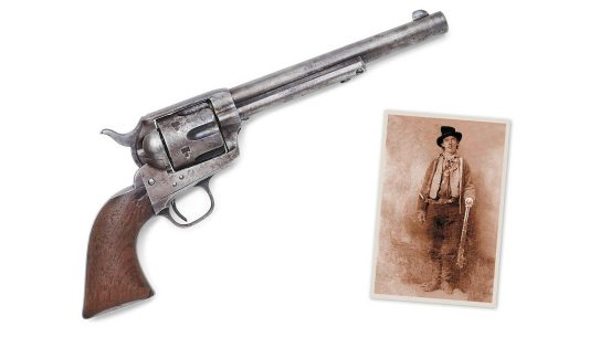 The gun that killed Billy the Kid with photo of Billy the Kid