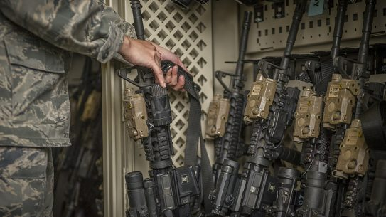 An armory full of M4 carbines.