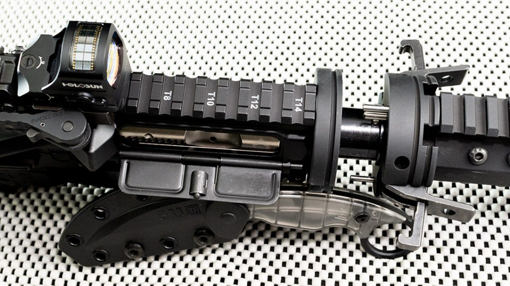 The Cry Havoc Quick Release Barrel makes this AR pistol build quick to disassemble and reassemble.