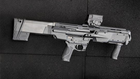The S&W M&P12 Bullpup Shotgun delivers a compact design.