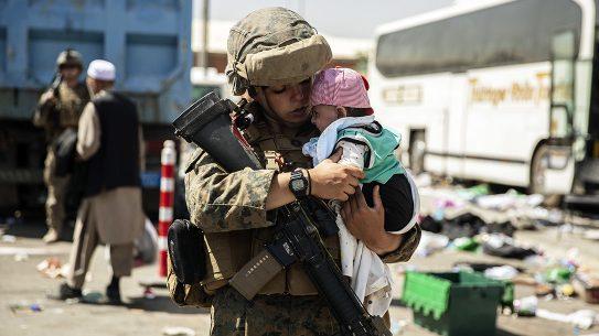 U.S. Marines conduct evacuation operations in Afghanistan.